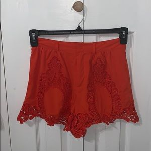 Pleated Shorts with Crotchet Detail
